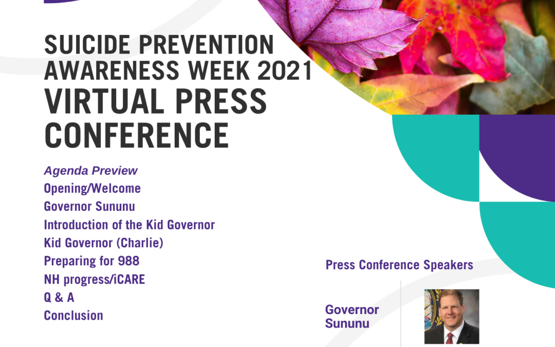Suicide Prevention Awareness Week 2021 Virtual Press Conference This Friday